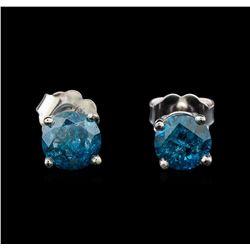 14KT White Gold 1.29 ctw Fancy Blue Diamond Stud Earrings