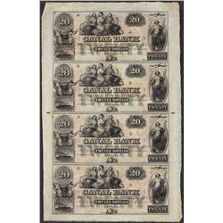 Uncut Sheet of 1800's $20 Canal Bank Obsolete Notes