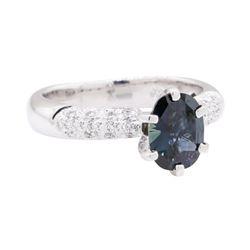 1.09 ctw Bluish Green Sapphire and Diamond Ring - Platinum