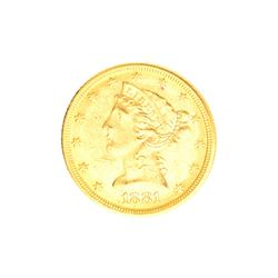 Very Rare 1881 $5 U.S. Liberty Head Gold Coin Great Investment