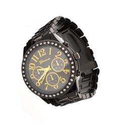 Geneva Stainless Steel Black Round Watch