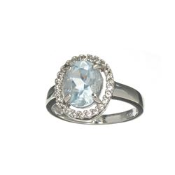 APP: 0.9k Fine Jewelry 1.30CT Oval Cut Aquamarine /White Sapphire And Sterling Silver Ring