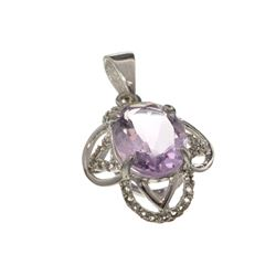 APP: 0.6k Fine Jewelry 2.50CT Purple Amethyst And White Sapphire Sterling Silver Pendant