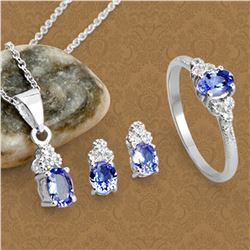 Fine Jewelry 1.66CT Tanzanite And White Topaz Sterling Silver Ring, Pendant w/ Chain & Earrings Set