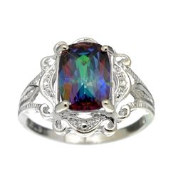 Rare Designer Sebastian Vintage, Mystic Topaz And Sterling Silver Ring