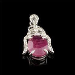 APP: 1.1k Fine Jewelry 4.15CT Ruby And Colorless Topaz Platinum Over Sterling Silver Pendant