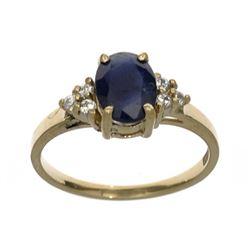 APP: 1.1k Fine Jewelry Designer Sebastian 14 KT Gold, 1.67CT Blue And White Sapphire Ring