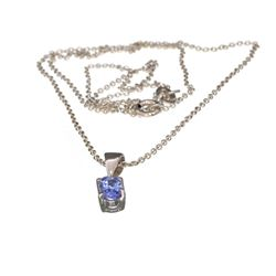 APP: 0.5k Fine Jewelry 0.44CT Oval Cut Tanzanite Over Sterling Silver Pendant With Chain