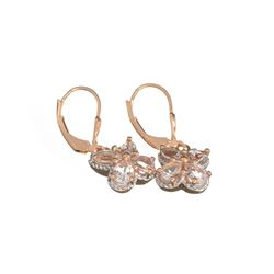 Fine Jewelry 1.88CT Oval/Matquise Cut Morganite Over Sterling Silver Rose Gold Dangle Earrings