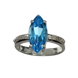 APP: 0.8k Fine Jewelry 3.26CT Blue And Colorless Topaz And Platinum Over Sterling Silver Ring