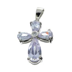 Fine Jewelry Designer Sebastian, French Cubic Zironia And Sterling Silver Cross Pendant