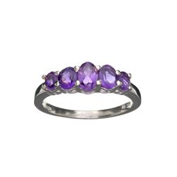 APP: 0.3k Fine Jewelry 1.43CT Oval Cut Purple Amethyst And Sterling Silver Ring