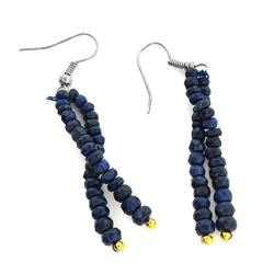 APP: 0.7k 25.00CT Round Cut Bead Blue Sapphire And White/Yellow Sterling Silver Earrings