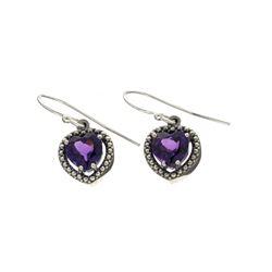 Fine Jewelry Designer Sebastian, Amethyst And White Sapphire Sterling Silver Earrings
