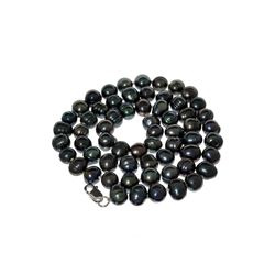 Gorgeous 18'' Black Dyed Pearl Strand with Sterling Silver Clasp Necklace