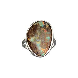 APP: 0.9k Fine Jewelry 12.00CT Free Form Multicolor Boulder Brown Opal And Sterling Silver Ring