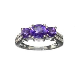 APP: 0.5k Fine Jewelry 1.54CT Purple Amethyst And White Sapphire Sterling Silver Ring