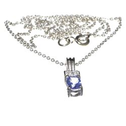 Fine Jewelry 0.55CT Tanzanite And Colorless Topaz Platinum Over Sterling Silver Pendant W Chain