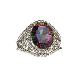APP: 0.4k Fine Jewelry 3.10CT Oval Cut Multicolor Mystic Quartz And Sterling Silver Ring