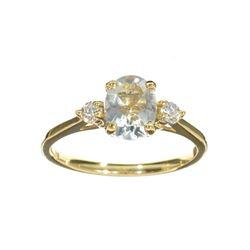 APP: 1.1k Fine Jewelry 14 KT Gold, 1.20CT Blue Aquamarine And White Sapphire Ring