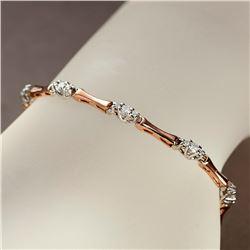 APP: 4.2k *Fine Jewelry 14KT Two Tone Gold, 1.00CT Round Brilliant Cut Diamond Bracelet (VGN A-302)