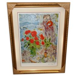 Marc Chagall (After) 'Red Bouquet with Lovers'  Framed & Matted