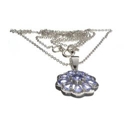 Fine Jewelry 0.20CT Round Cut Tanzanite And Platinum Over Sterling Silver Pendant W Chain