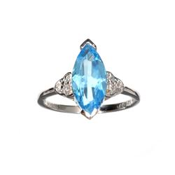 APP: 0.4k Fine Jewelry 3.63CT Blue Topaz And White Sapphire Sterling Silver Ring