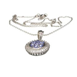 Fine Jewelry 1.28CT Round Cut Tanzanite And White Topaz Over Sterling Silver Pendant With Chain