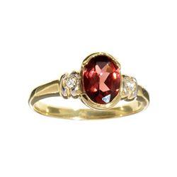 Fine Jewelry Designer Sebastian 14 KT Gold, 1.47CT Almandite Garnet And White Sapphire Ring