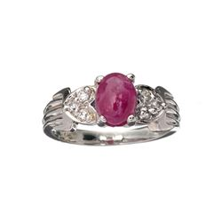 APP: 0.8k 1.49CT Ruby And Topaz Platinum Over Sterling Silver Ring