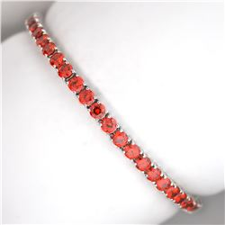Custom Made Sterling Silver Opal Fancy French Cubic Zirconium Tennis Bracelet