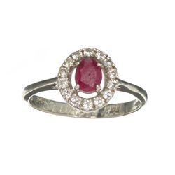 APP: 1.2k Fine Jewelry 0.50CT Ruby And Colorless Topaz Platinum Over Sterling Silver Ring