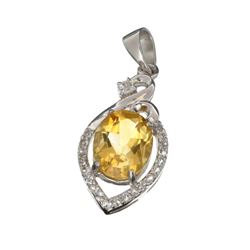 APP: 0.6k Fine Jewelry 2.85CT Citrine And White Sapphire Sterling Silver Pendant