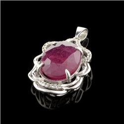 APP: 1.9k Fine Jewelry 9.10CT Ruby And Colorless Topaz Platinum Over Sterling Silver Pendant