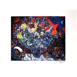 MARC CHAGALL (After) Bouquet de Fleurs et Amants Print, 424 of 500