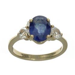 APP: 1.2k Fine Jewelry Designer Sebastian 14 KT Gold, 2.78CT Blue And White Sapphire Ring