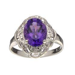 Fine Jewelry Designer Sebastian, Amethyst And White Sapphire Sterling Silver Ring