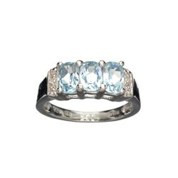APP: 0.3k Fine Jewelry 1.84CT Blue Topaz And White Sapphire Sterling Silver Ring