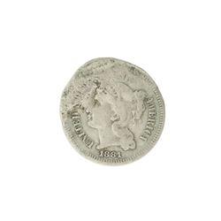 1881 Three Cent Piece Nickel Coin