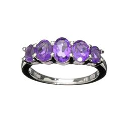 APP: 0.8k Fine Jewelry 1.75CT Oval Cut Purple Amethyst Quartz And Platinum Over Sterling Silver Ring