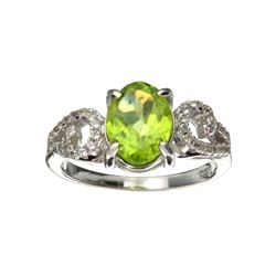 APP: 1k Fine Jewelry 2.16CT Green Peridot And Colorless Topaz Platinum Over Sterling Silver Ring