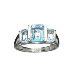 APP: 0.4k Fine Jewelry 3.21CT Rectangular Cut Blue Topaz And Sterling Silver Ring