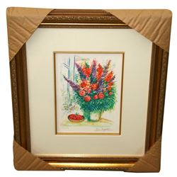 Chagall (After) 'Bowl of Cherries' Museum Framed Giclee-Ltd Edn