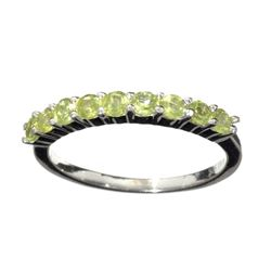 APP: 0.7k Fine Jewelry 0.85CT Round Cut Green Peridot And Platinum Over Sterling Silver Ring