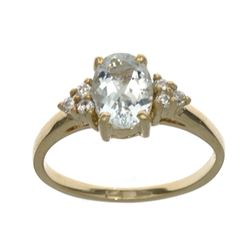 APP: 1.2k Fine Jewelry Designer Sebastian 14 KT Gold, 1.25CT Blue Aquamarine And White Sapphire Ring