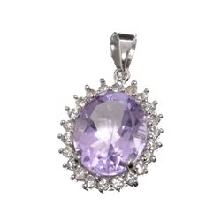 APP: 0.6k Fine Jewelry 3.40CT Purple Amethyst And White Sapphire Sterling Silver Pendant
