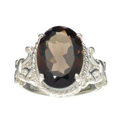 APP: 0.5k Fine Jewelry Designer Sebastian, 3.91CT Brown Smoky Quartz And Sterling Silver Ring