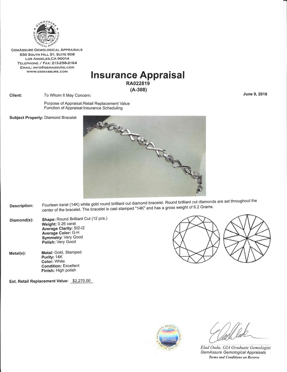 APP: 2 3k *Fine Jewelry 14KT White Gold, 0 26CT Round Brilliant Cut Diamond  Bracelet (VGN A-308) (Va