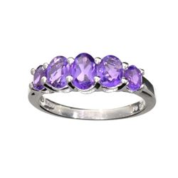 APP: 0.5k Fine Jewelry 1.00CT Oval Cut Purple Amethyst Quartz And Platinum Over Sterling Silver Ring